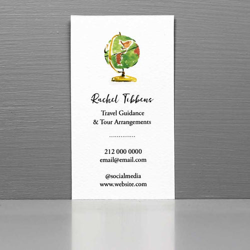 Business Card with Globe, Travel Blogger, Travel Agent, Tour Guide