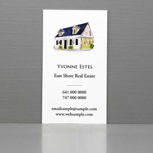 Real Estate Business Card, Housekeeping Card, Property Manager Business Card with House Illustration