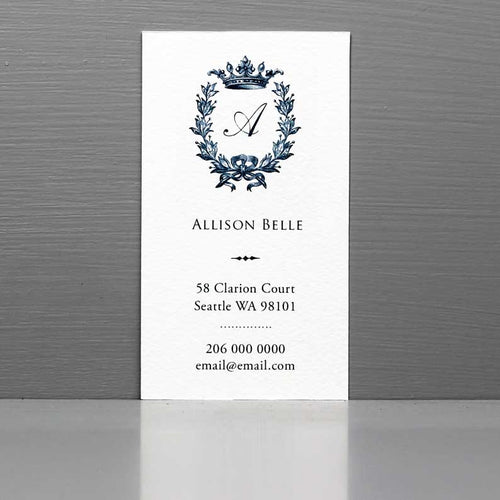 Monogram Business Card with Crown and Laurel