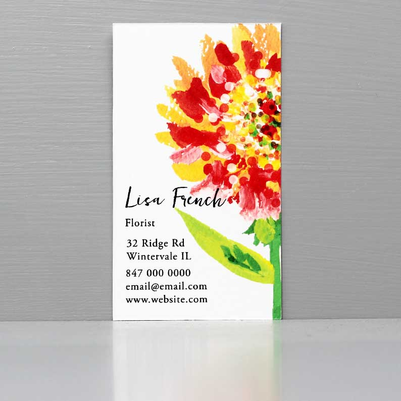 Flower Business Card, Business Card with Orange Flower