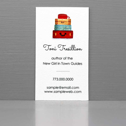 Travel Business Card with Suitcase Stack