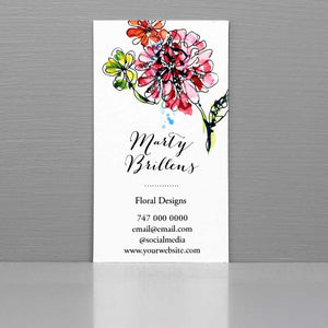 Business Card with Watercolor Flowers, Florist Business Card