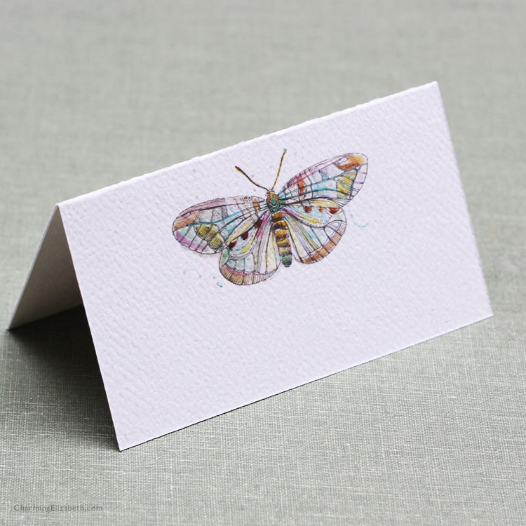 Watercolor Butterfly Place Cards, Set of 12