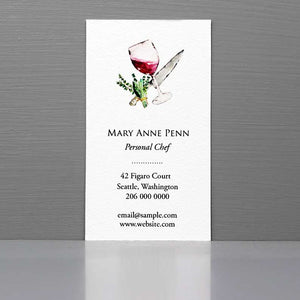 Personal Chef Business Card with Wine Glass and Knife