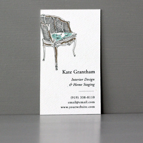 French Chair Business Card, Sets of 50