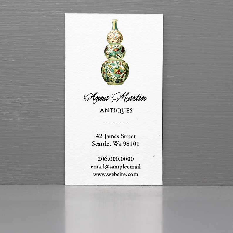 Chinese Vase Business Card, Elegant Business Card with Vase