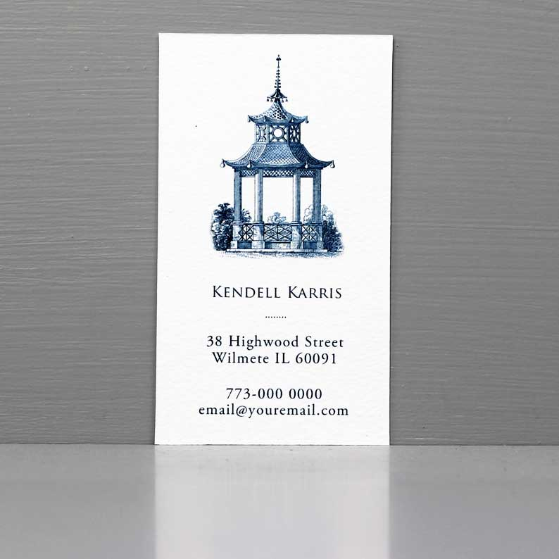 Blue and White Pagoda Business Card, Chinoiserie Business Card