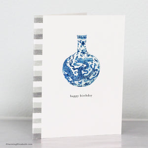 Blue and White Chinoiserie Vase Birthday Card