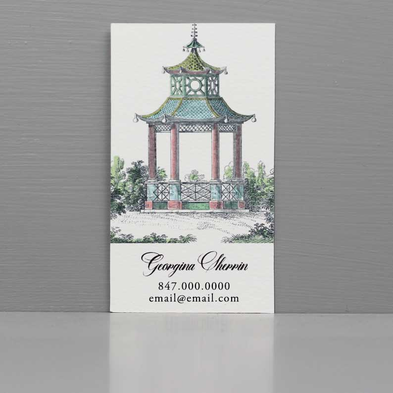 Pagoda Business Card, Chinoiserie Business Card with Pagoda