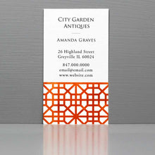 Business Card with Orange Trellis Pattern, Chinoiserie Fret Pattern