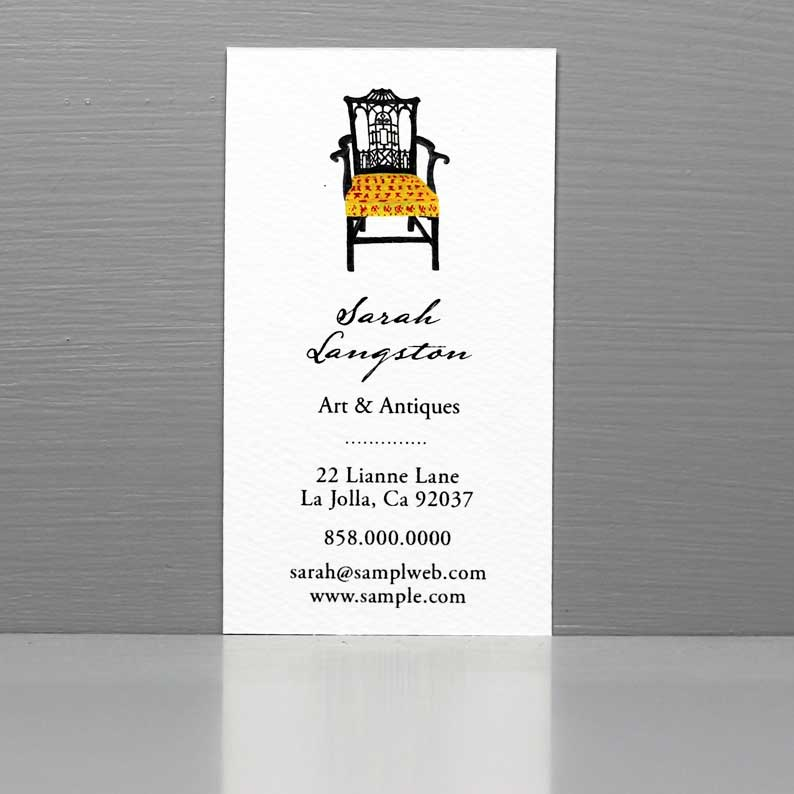 Business Card with Chinese Chippendale Chair, Antiques, Interior Design Card.