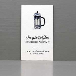 Coffee Business Card, French Press, Barrista
