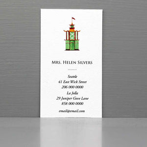 Pagoda Business Card, Calling Card with Pagoda