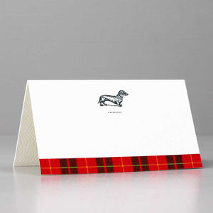Dachshund Place Card with Red Tartan