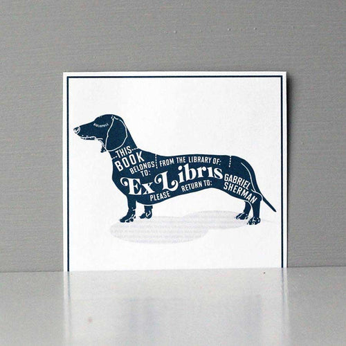 Typographical Dachshund Bookplate