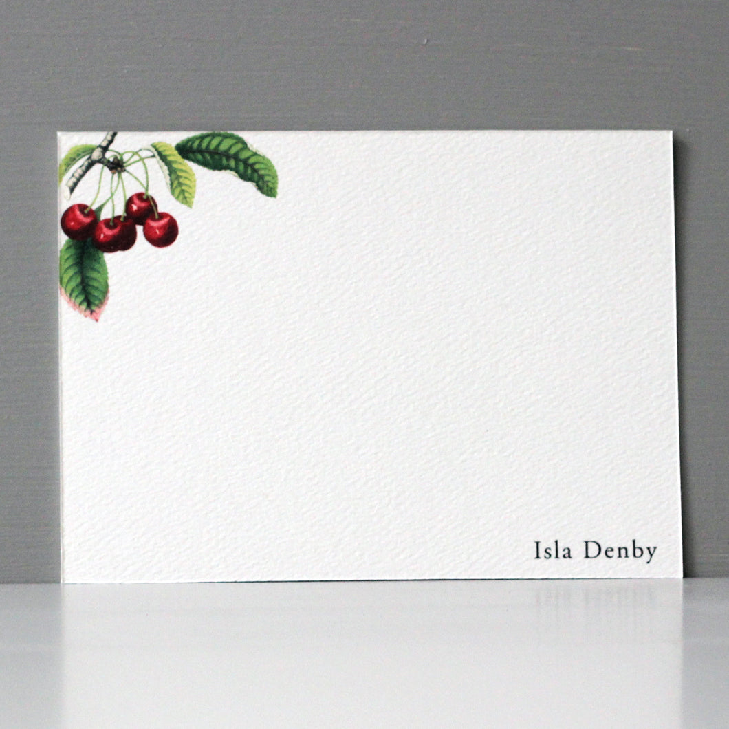 Personalized Flat Note, Cherries, Set of 15