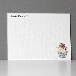 Personalized Flat Note, Cupcake, Set of 15