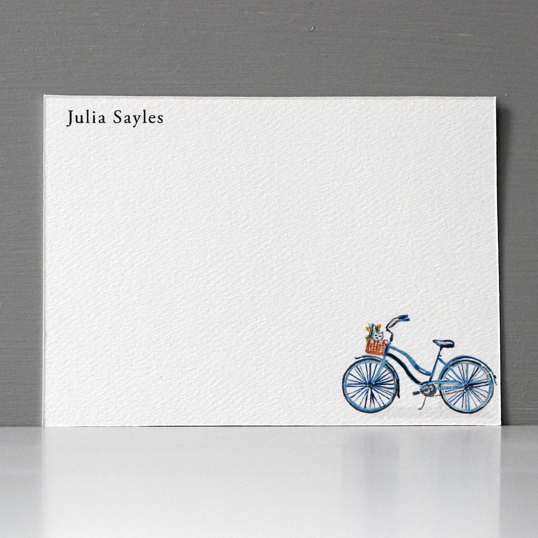 Personalized Flat Note, Bicycle, Set of 15