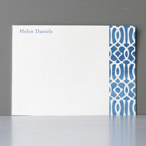 Personalized Flat Note, Ikat Blue Design, Set of 15