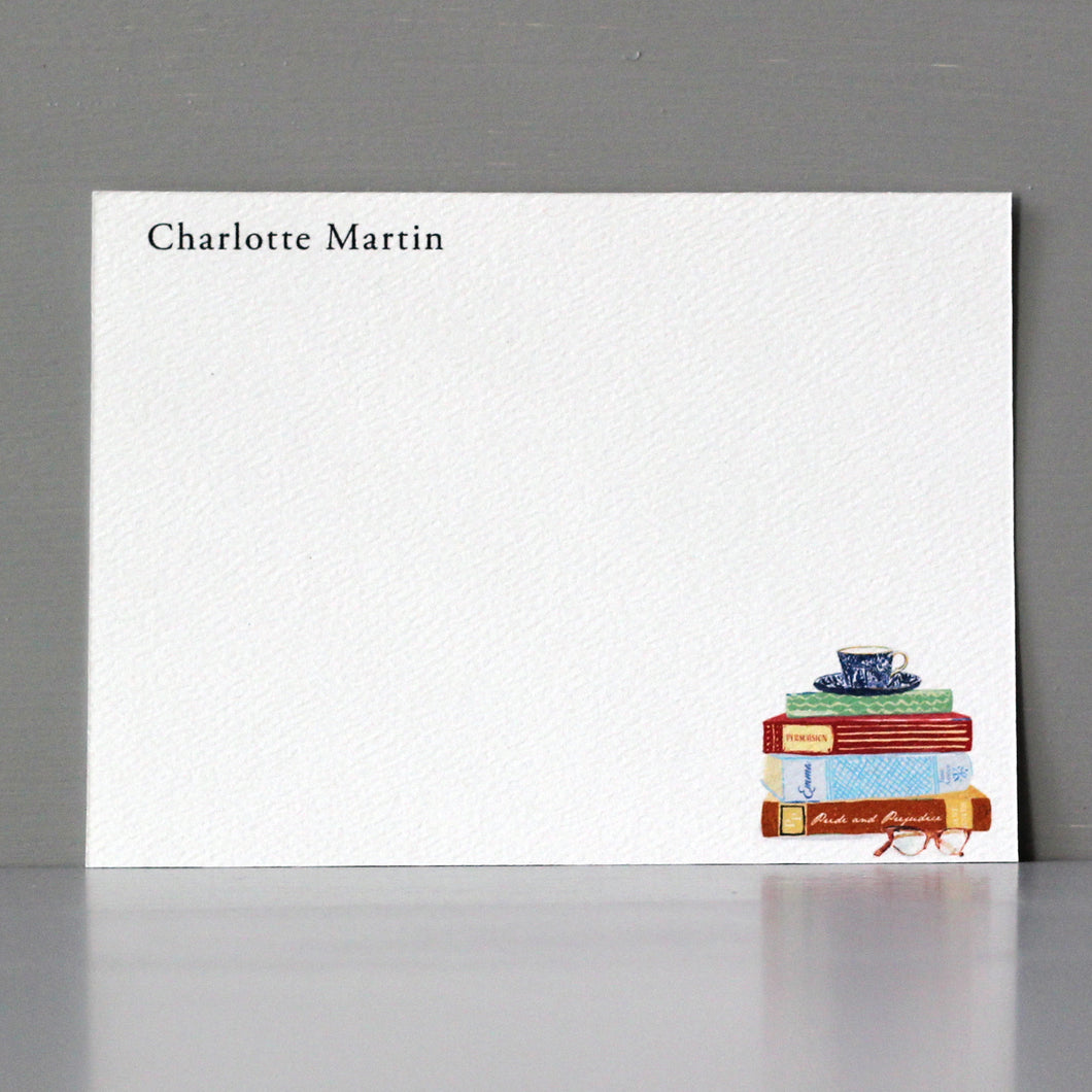 Personalized Flat Note, Books with Tea Cup, Set of 15