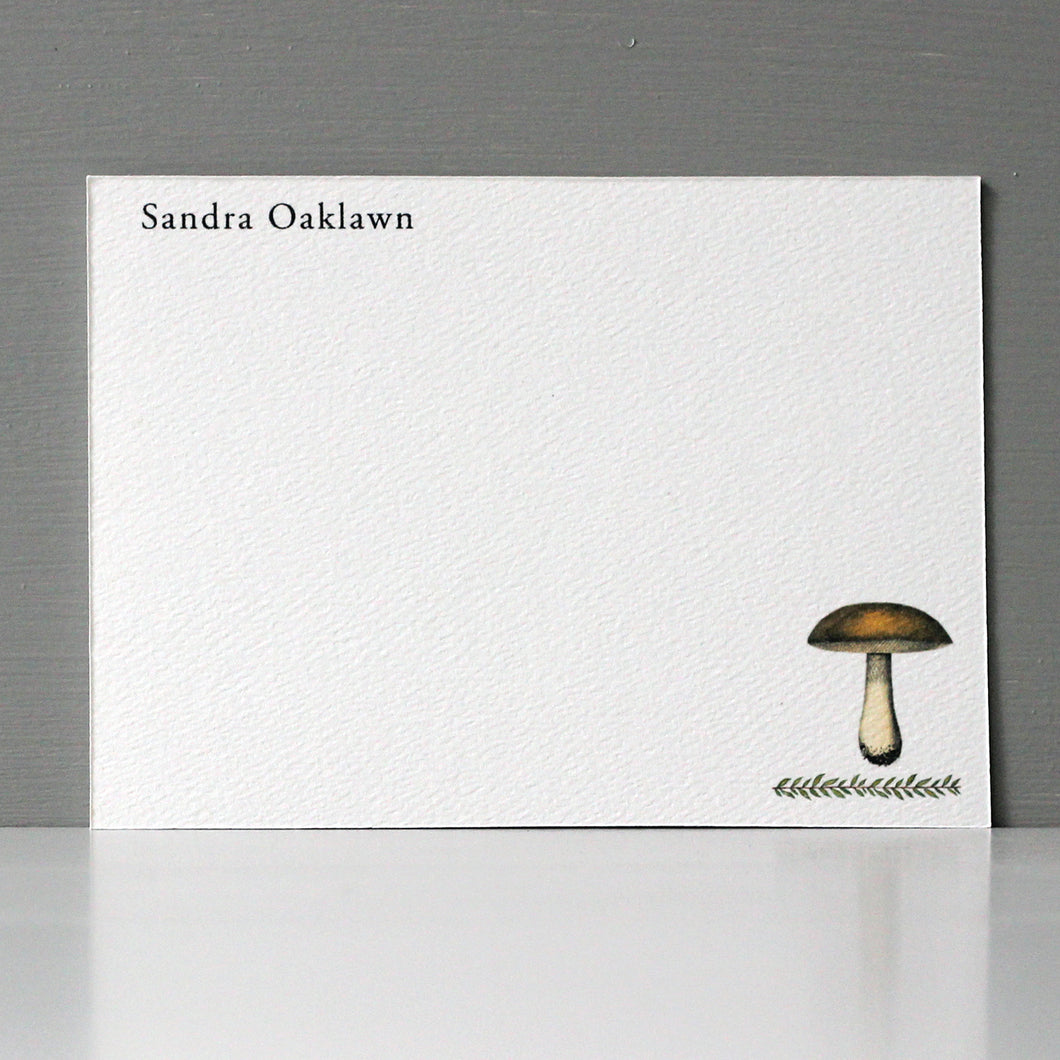 Personalized Flat Note, Mushroom, Set of 15