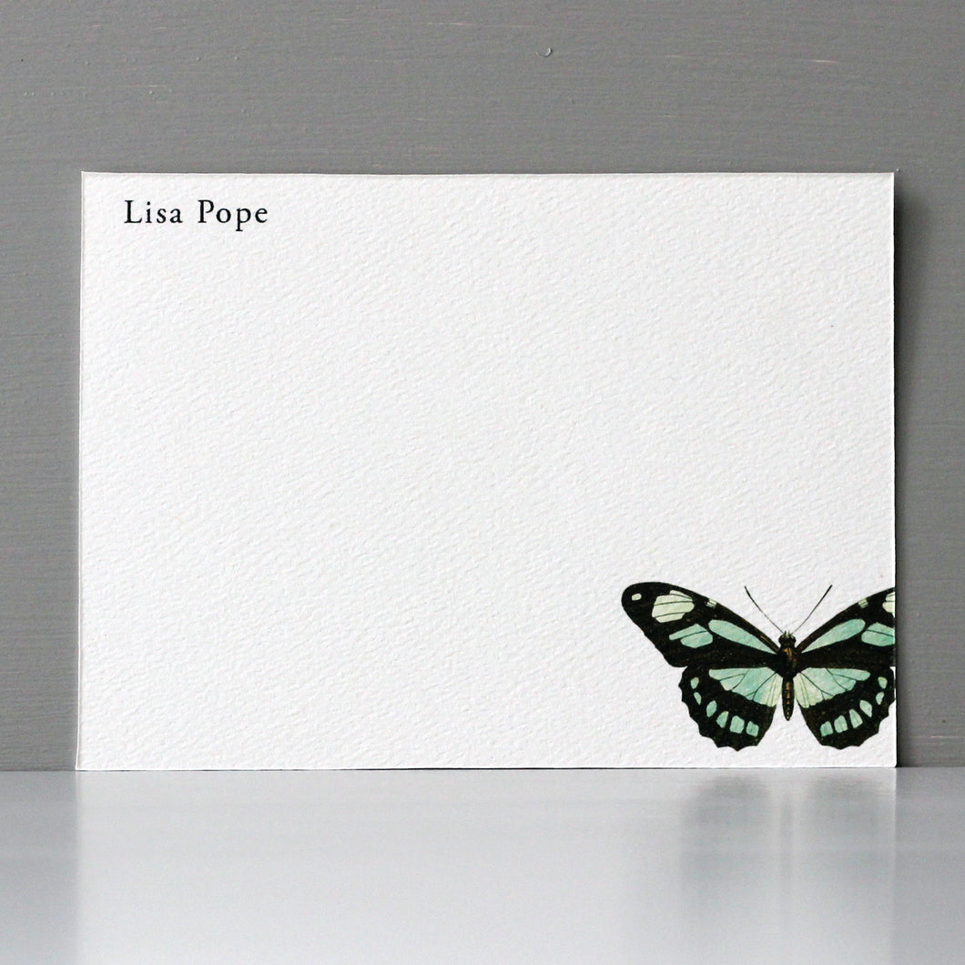 Personalized Flat Note, Vintage Butterfly, Set of 15