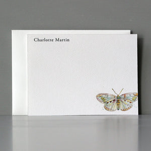Personalized Flat Note, Water Color Butterfly, Set of 15