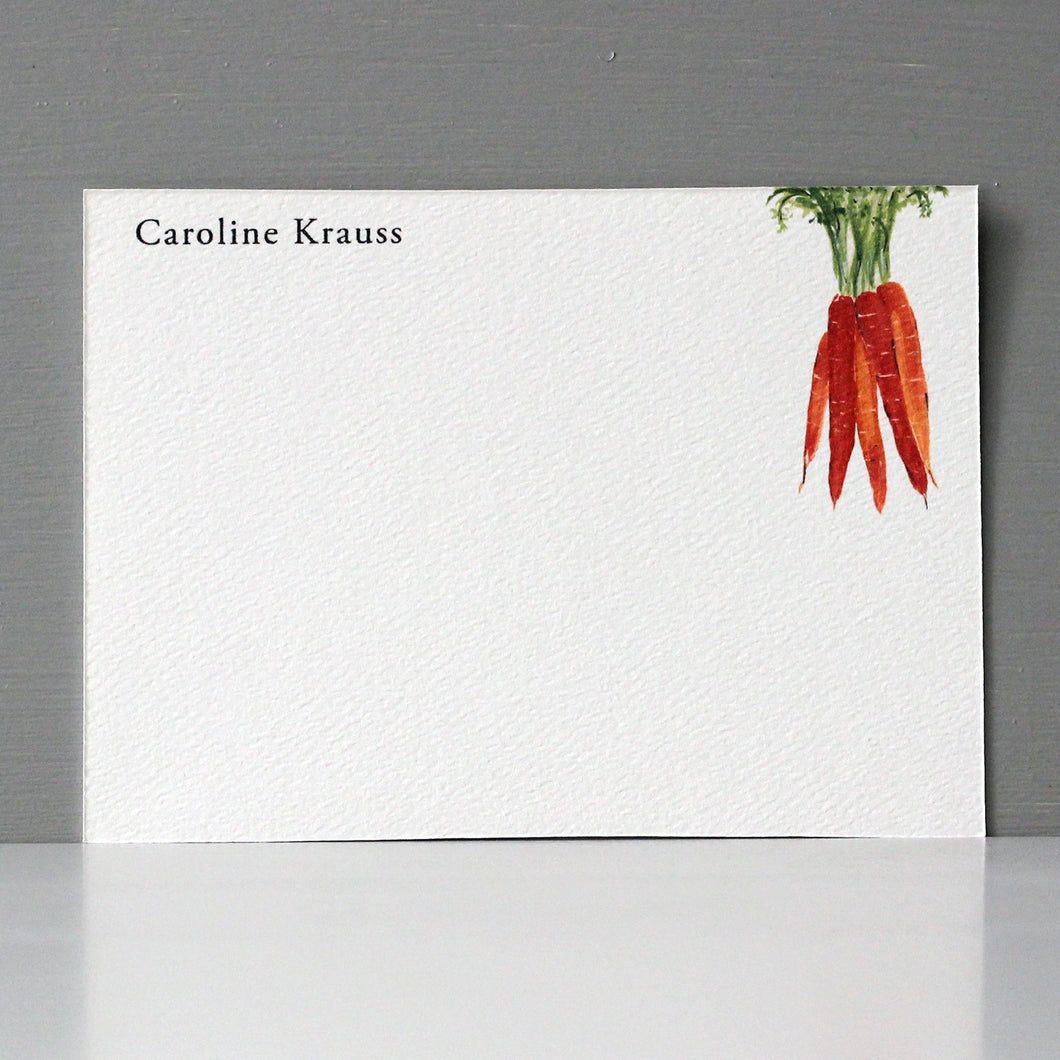 Personalized Flat Note, Carrots, Set of 15