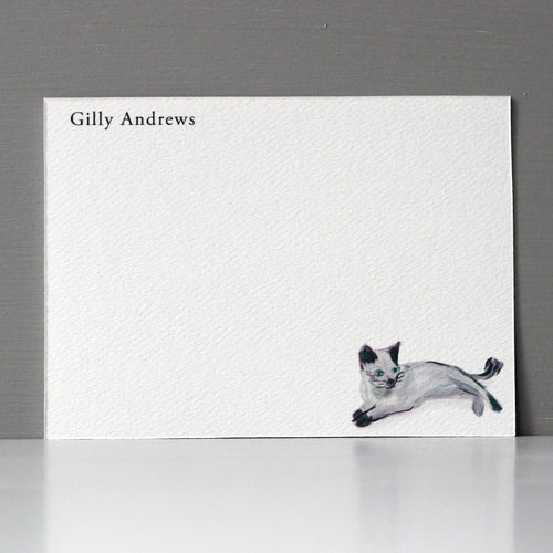 Personalized Flat Note, Gray Cat, Set of 15