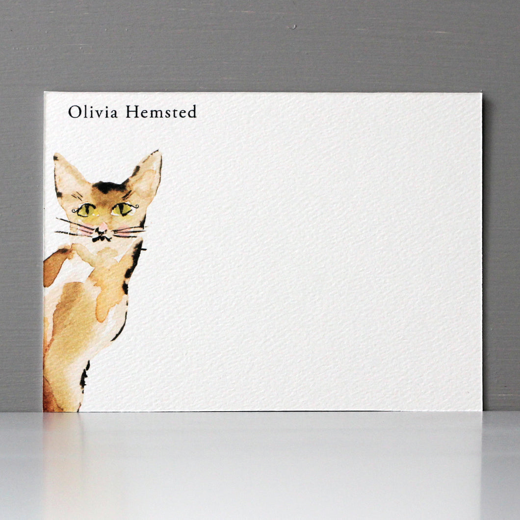 Personalized Flat Note, Sweet Cat, Set of 15