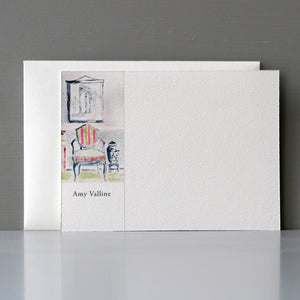 Personalized Flat Note, Interior Watercolor Scene with Chair, Set of 15