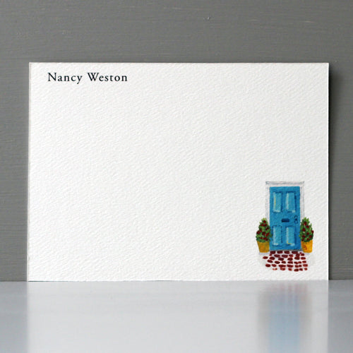 Personalized Flat Note, Blue Door, Set of 15