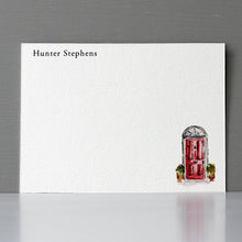Personalized Flat Note, Red Door, Set of 15