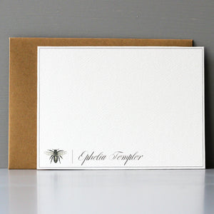 Personalized Flat Note, Elegant Bee, Set of 15