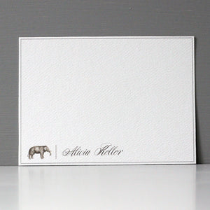 Personalized Flat Note, Elegant Elephant, Set of 15