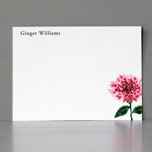 Personalized Flat Note, Pink Flower, Set of 15