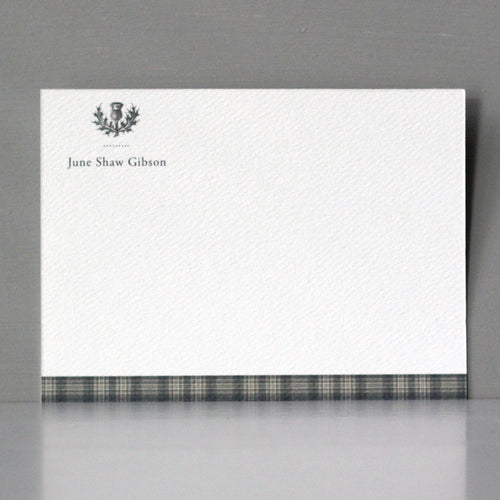 Scottish Thistle GrayTartan Flat Notes, Set of 15