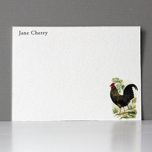 Personalized Flat Note, Rooster, Set of 15