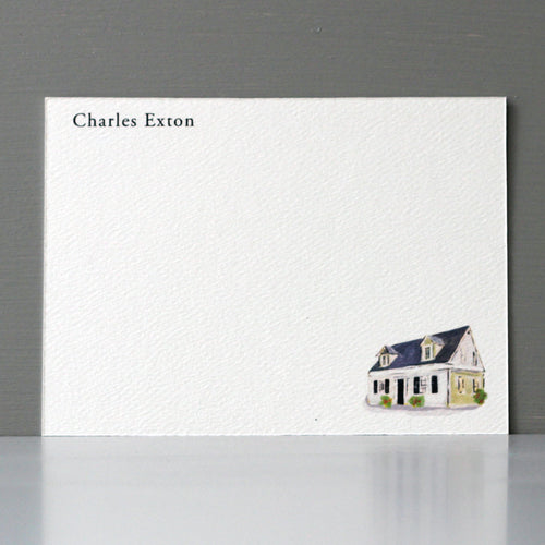 Personalized Flat Note, House, Set of 15