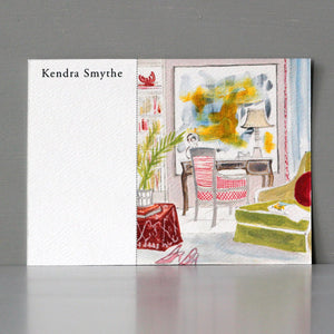 Personalized Flat Note, Interior Watercolor Scenes, Set of 15