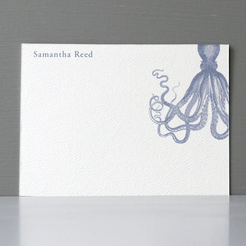 Personalized Flat Note, Octopus, Set of 15