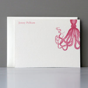 Personalized Flat Note, Hot Pink Octopus, Set of 15