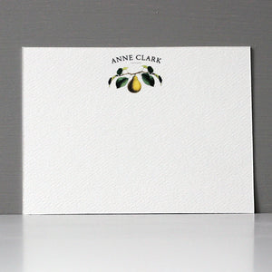 Personalized Flat Note, Pear, Set of 15