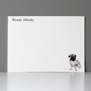 Personalized Flat Note, Pug, Set of 15