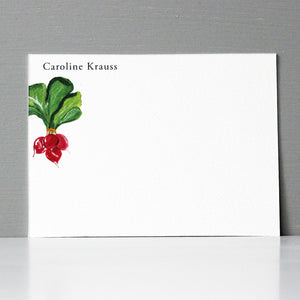 Personalized Flat Note, Radish, Set of 15
