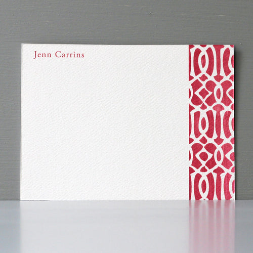 Personalized Flat Note, Ikat Red Design, Set of 15
