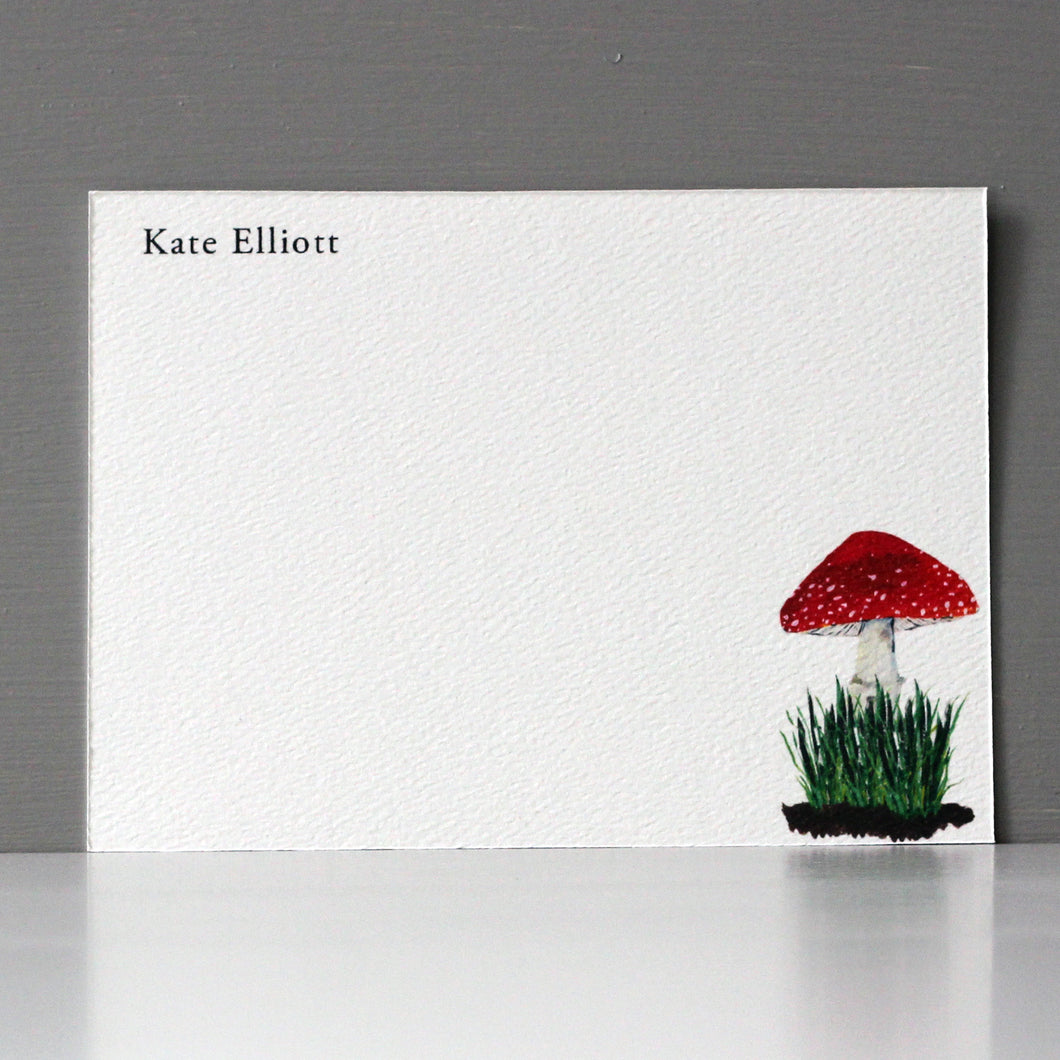 Personalized Flat Note, Spotted Red Mushroom, Set of 15