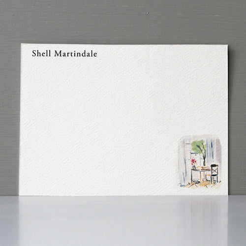 Personalized Flat Note, Desk and Chair Scene, Set of 15