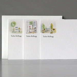 Personalized Flat Note, Watercolor Scenes, Set of 15
