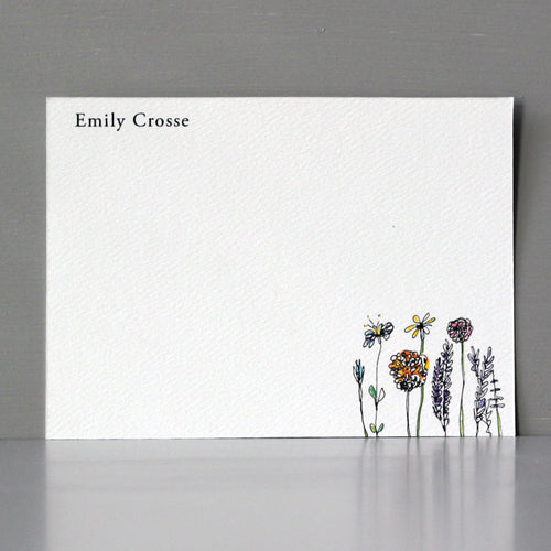 Personalized Flat Note, Wildflowers, Set of 15
